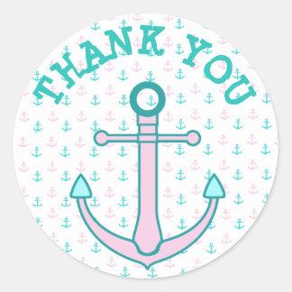 Rose d'autocollants de Merci et Teal ou Sticker Rond