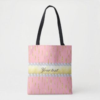 Rose de courses et de diamants de peinture d'or tote bag