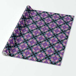 Rose de Diwali Giftwrap, bleu, motif noir de Papier Cadeau