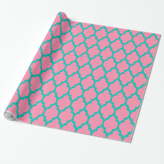 Rose de flamant, Marocain Quatrefoil #4 de Teal XL Papiers Cadeaux