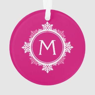 Rose de fuchsia de monogramme d'ornement de Noël