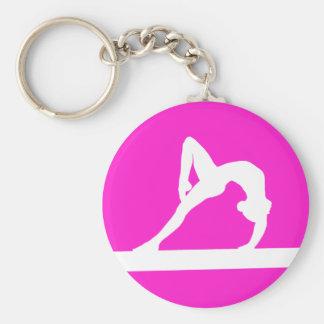 Rose de porte - clé de silhouette de gymnaste porte-clé rond