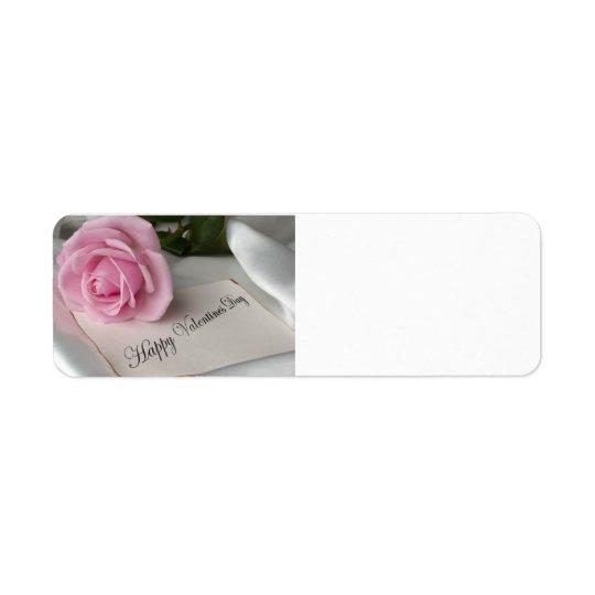 Rose de rose de Saint-Valentin Étiquette D'adresse Retour