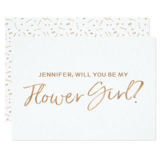 """Rose d'or marqué avec des lettres """"vous serez ma carton d'invitation  12,7 cm x 17,78 cm"""