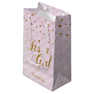 Rose doux de bébé et confettis d'or petit sac cadeau