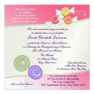 Rose doux de pastèque de bat mitzvah de sucrerie invitations