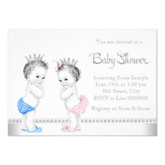 Rose élégant et le bleu jumelle le baby shower carton d'invitation  12,7 cm x 17,78 cm
