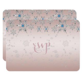 Rose en cristal de perle de flocons de neige carton d'invitation 8,89 cm x 12,70 cm