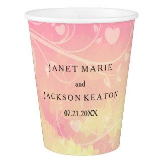 Rose en pastel et amour jaune pâle d'aquarelle gobelets en papier