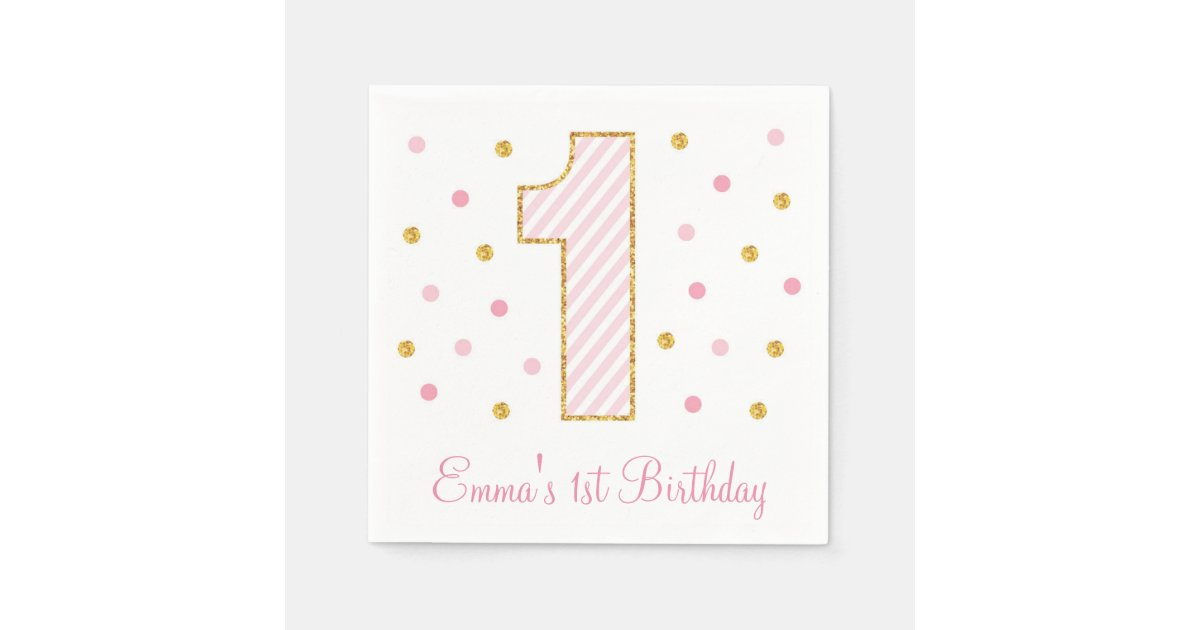 rose et anniversaire de scintillement d 39 or premier serviette jetable zazzle. Black Bedroom Furniture Sets. Home Design Ideas