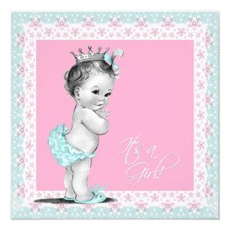 Rose et baby shower bleu turquoise carton d'invitation  13,33 cm