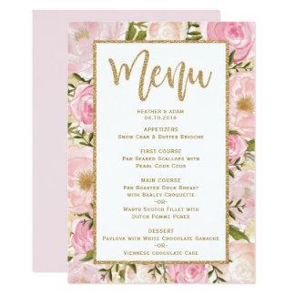 Rose et carte florale de modèle de menu de mariage