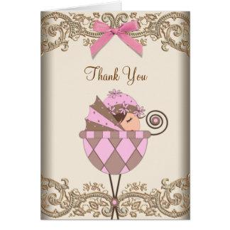 Rose et cartes de Merci de baby shower de Brown