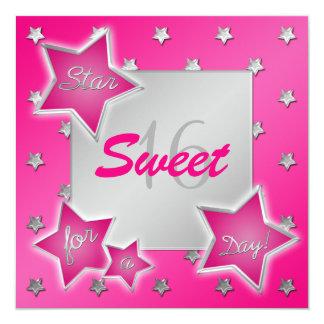 Rose et invitation du bonbon 16 à étoiles d'argent