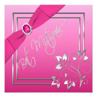 Rose et invitation florale de bat mitzvah d argent