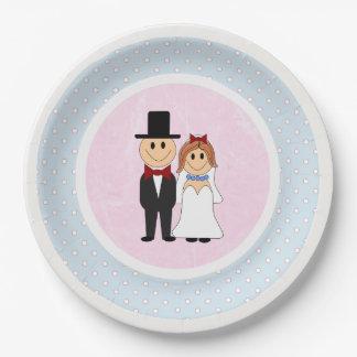 Rose, et mariage bleu de jeunes mariés de pois assiettes en papier