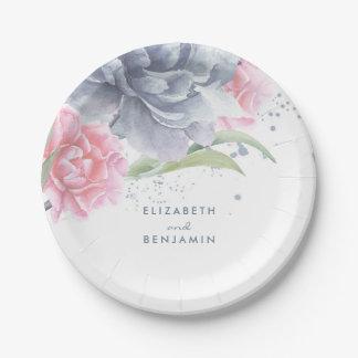 Rose et mariage floral bleu poussiéreux assiettes en papier