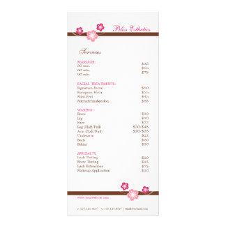 Rose et modèle de menu de spa de Brown Sakura