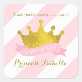 Rose et princesse Birthday de diadème d'or Sticker Carré