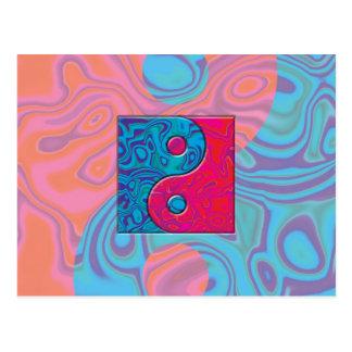 Rose et symbole de Yin Yang de turquoise Carte Postale