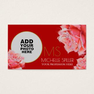rose floral de rose pour les femmes élégantes, cartes de visite