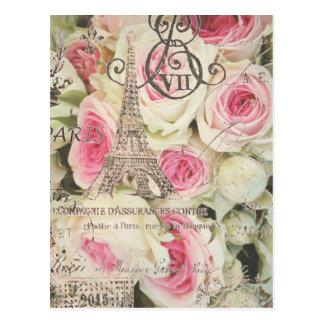Rose floral vintage chic de rose de Paris Carte Postale