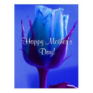 Rose heureux de bleu du jour de mère carte postale