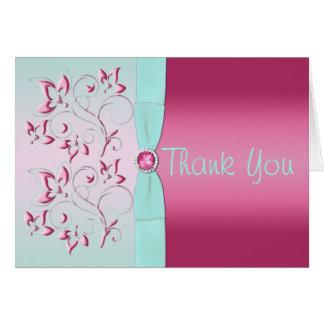 Rose IMPRIMÉ de RUBAN, carte de remerciements
