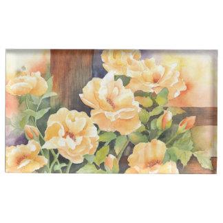 Rose jaune d'aquarelle porte-carte de table