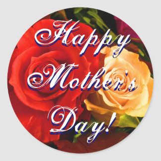 Rose jaune rouge heureux du jour de mère sticker rond