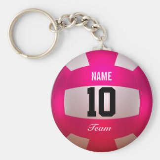 Rose lumineux de volleyball de personnaliser porte-clé rond