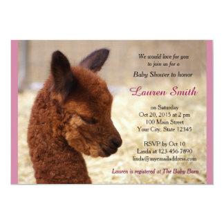 Rose mignon d'invitations de baby shower d'alpaga
