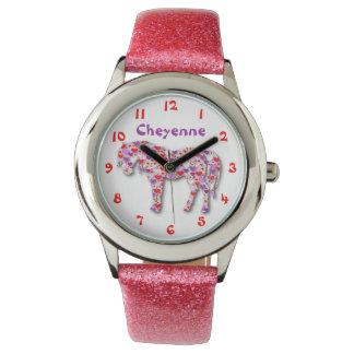 Rose mignon personnalisé et poney de cheval de montres bracelet