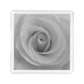 Rose noir et blanc plateau en acrylique