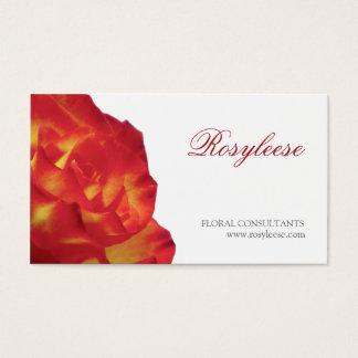 Rose rouge et jaune - fleuriste/conseiller floral cartes de visite