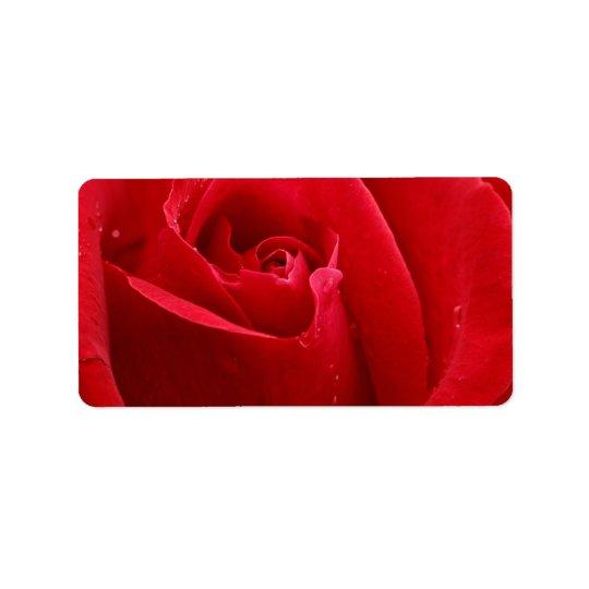 Rose rouge romantique étiquette d'adresse