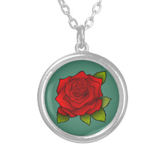 Rose rouge simple collier