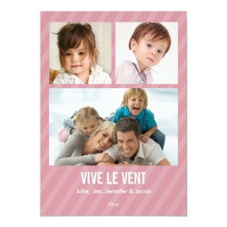 Rose Triple carte de photo de vacances Carton D'invitation 12,7 Cm X 17,78 Cm
