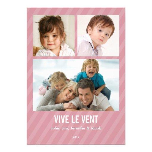 Rose Triple carte de photo de vacances Invitation Personnalisée