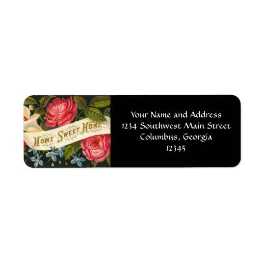 Roses à la maison doux à la maison victoriens étiquette d'adresse retour