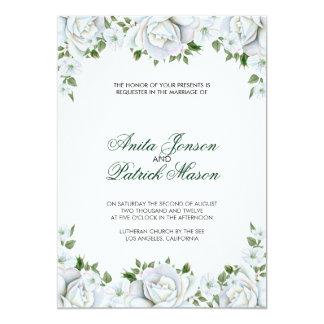 Roses blancs carton d'invitation  12,7 cm x 17,78 cm