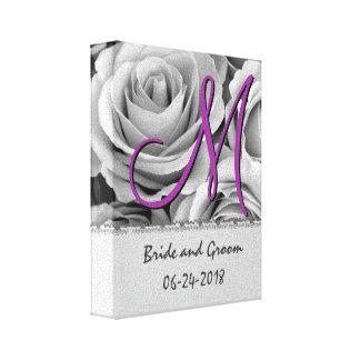 Roses blancs de date de mariage de monogramme toiles