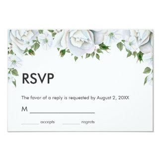 Roses blancs et bourgeons carton d'invitation 8,89 cm x 12,70 cm