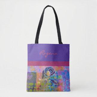 Tote Bag Roses bleus - pourpres et roses - sac à