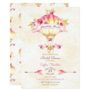 Roses chauds de flèches de jaune d'or de rose de carton d'invitation  12,7 cm x 17,78 cm