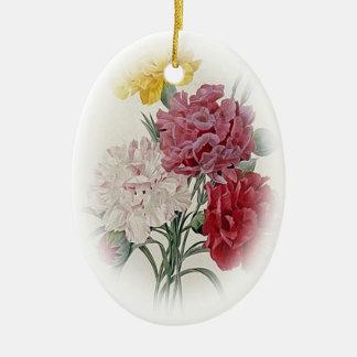 Roses d'anniversaire - le doux a affilé l'ovale ornement ovale en céramique