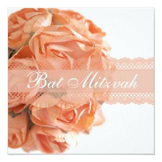 Roses de pêche et invitation de bat mitzvah de carton d'invitation  13,33 cm