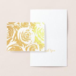 Roses élégants d'or carte dorée