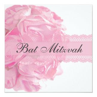Roses et invitation roses de bat mitzvah de carton d'invitation  13,33 cm