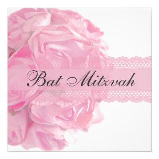 Roses et invitation roses de bat mitzvah de dentel